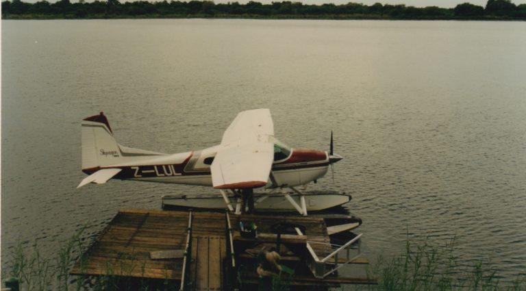 En hydravion sur le Zambèze, non loin des chutes Victoria.